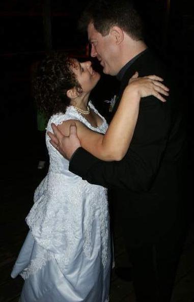 John and Irene: wedding kiss