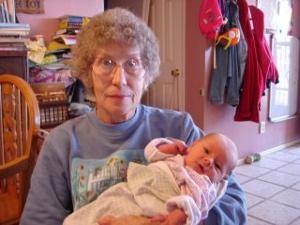 in Grandma Lavera's arms