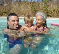 Uncle Bela, John, and Grandma in Pool